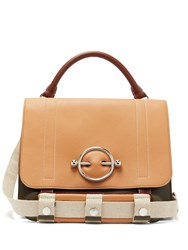 J.W.Anderson Disc Leather Satchel Bag Brown Multi