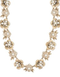 Marchesa Faux Pearl And Austrian Crystal Floral Necklace Gold