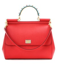 Dolce And Gabbana Exclusive To Mytheresa.Com Miss Sicily Embellished Leather Tote Red