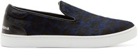 Dolce And Gabbana Blue Leopard Calf Hair London Sneakers