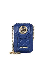 Love Moschino Quilted Faux Leather Crossbody Pouch Blue