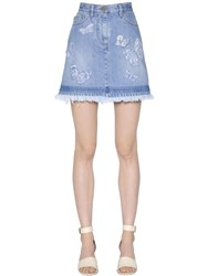 Valentino Butterfly Embroidery Denim Skirt