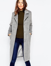 Brave Soul Double Breasted Fitted Coat Grey