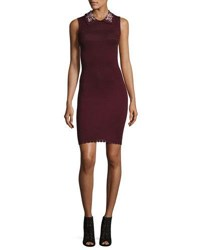 Carven Embellished Collar Sleeveless Dress Wine