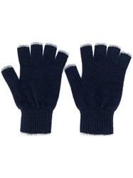 Pringle Of Scotland Fingerless Gloves Blue