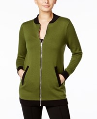 Ny Collection Long Knit Bomber Jacket Chive Black Trim
