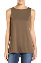 Bobeau Women's Pleat Back High Low Tank Olive Tarmac