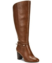 Alfani Step 'N Flex Giliann Wide Calf Dress Boots Created For Macy's Women's Shoes Cognac