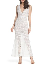 Harlyn V Neck Lace Trumpet Gown Off White