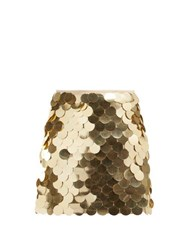 Sara Battaglia Sequinned Mini Skirt Gold