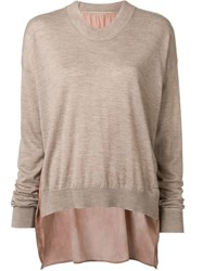 Uma Wang Panelled Colour Block Jumper Brown
