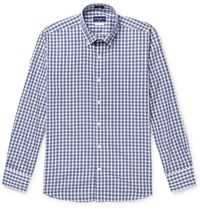 Peter Millar Tides Slim Fit Button Down Collar Checked Cotton Shirt Blue