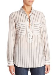 Equipment Knox Yarn Dyed Striped Lace Up Shirt White Black