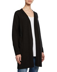 Eileen Fisher Open Front Long Stretch Knit Cardigan Black