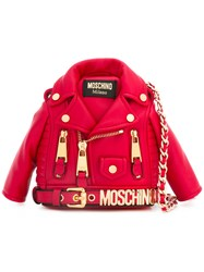 Moschino Shrunken Biker Jacket Bag Women Leather Metal One Size Red