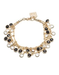 Anne Klein Black And White Dangling Stone Bracelet