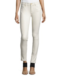 7 For All Mankind Faux Leather Seamed Skinny Pants Winter White