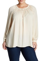 14Th And Union Peasant Blouse Plus Size Beige Burnt