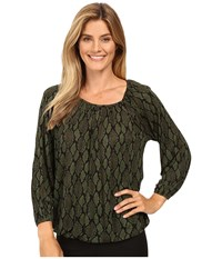 Michael Michael Kors Diamond Snake Peasant Top Moss Women's Clothing Green