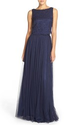 Women's Donna Morgan 'Alexis' Lace And Tulle Two Piece Gown Indigo