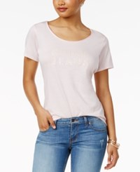 Guess Scoop Neck Graphic T Shirt Pale Lilac