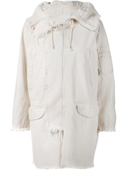R 13 R13 Frayed Trim Hooded Coat Nude And Neutrals