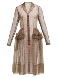 Molly Goddard Tiffany Gingham Tulle Shirtdress Brown