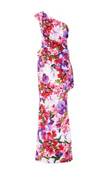 Elizabeth Kennedy One Shoulder Floral Peplum Gown Pink