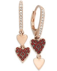 Danori Rose Gold Tone Pave Heart Mismatch Earrings Created For Macy's Red