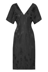 Bassike Linen Blend Jacquard Midi Dress Black
