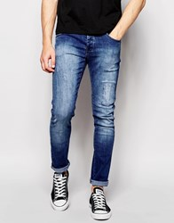 Loyalty And Faith Skinny Jean Distressing Mid Wash Blue