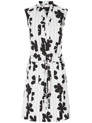 Jaeger Floral Print Shirt Dress Ivory Black