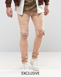 Mennace Skinny Jeans With Paint Splat In Tan Tan Grey