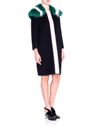 Fendi Fur Collar Colorblock Wool Coat Black Multi