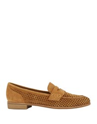 G.H. Bass Ellie Perforated Suede Loafers Camel