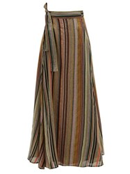 Ace And Jig Sangria Striped Cotton Wrap Skirt Black Multi