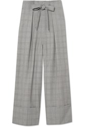 Paper London Twin Prince Of Wales Checked Wool Blend Wide Leg Pants Gray