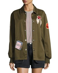 Opening Ceremony Gestures Twill Coach Jacket Olive