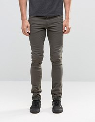 Asos Super Skinny Jeans With Camo Turn Up In Khaki Forest Night Green