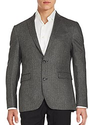 Saks Fifth Avenue Cashmere Two Button Jacket Black White