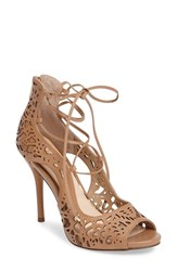 Jessica Simpson Women's Briony Perforated Ghillie Sandal Buff Leather