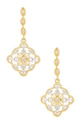 Freida Rothman 14K Gold Plated Sterling Silver Floral Cz Marquise Earrings Metallic