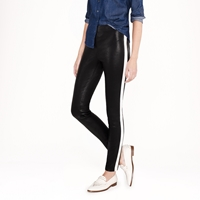 J.Crew Collection Leather Leggings In Tuxedo Stripe