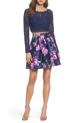 Sequin Hearts Glitter Lace Two Piece Dress Navy Violet