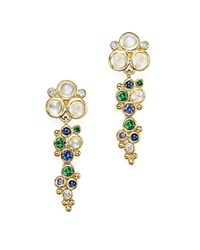 Temple St. Clair 18K Yellow Gold Mare Drop Earrings With Tsavorite Sapphire Blue Moonstone And Diamond