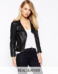 Karen Millen Biker Jacket In Leather Black