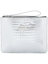 Giuseppe Zanotti Design Crocodile Embossed Mirrored Margery Clutch Metallic