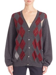 Alexander Wang Argyle Wool Cardigan Balsamic