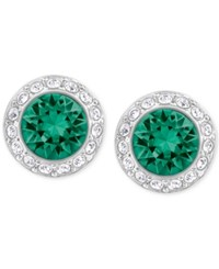 Swarovski Silver Tone Green Crystal Halo Stud Earrings