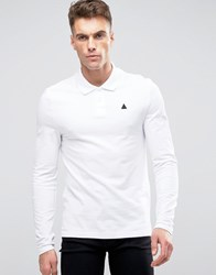 Asos Long Sleeve Muscle Pique Polo In White With Logo White